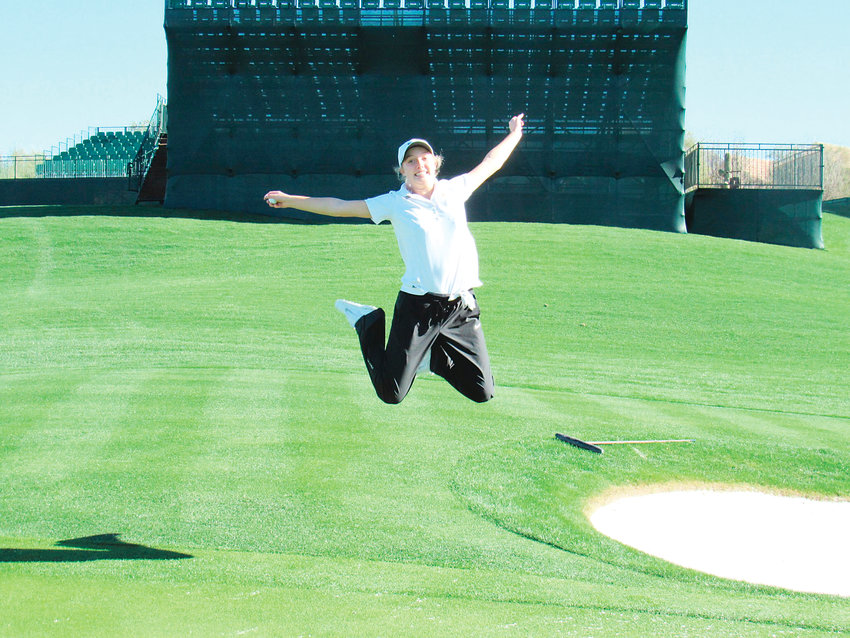 Holy Family's Hailey Schalk, shown here at TPC Scottsdale golf course in Arizona, won her third state title May 20,