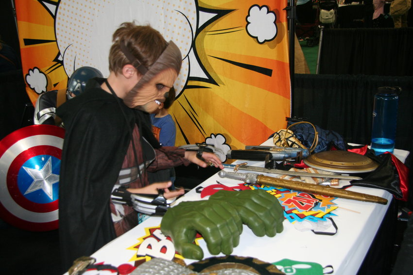 The LAB area for children and teens was a popular place for hands on activities, including Lego building, costume building and interactive photography. Here, children are allowed to build their ideal superhero outfit with any of the pieces they'd like, even if that means a Chewbacca mask with Hulk hands.