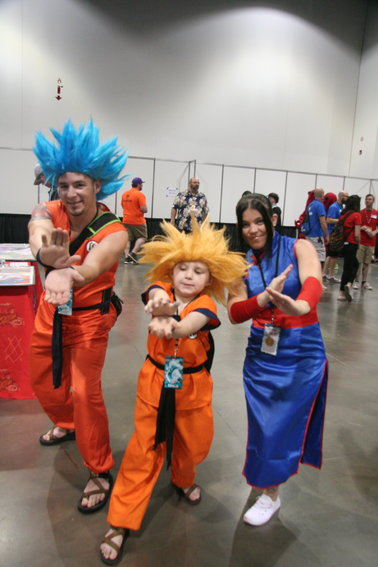 From right, Dutsy Pack as Goku, Shaun Pack as Gohan and Katrina Kendall as Chi-Chi, all from Dragonball Super. The trio came down from Wyoming for the second year in a row to enjoy the cosplay at Denver Pop Culture Con.