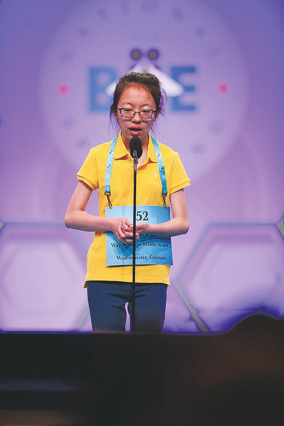 Arvada's Lauren Guo, who attends the Wayne Carle Middle School in Westminster, competes in the Scripps National Spelling Bee held in National Harbor Maryland May 26-31. Guo advanced to the final 48 in the competition.
