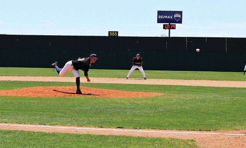 HF senior pitcher Weston Siefken delivers the pitch at UCHealth Park against Pueblo West in the 4A Final Four May 31.