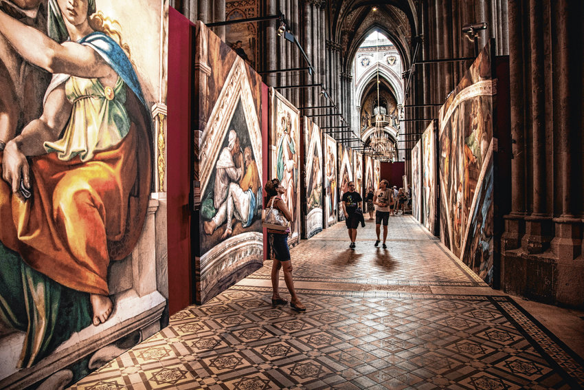 Reproductions of Sistine Chapel fresco paintings by Michelangelo will be on display in The Hanger at Stanley Marketplace in Aurora in July.