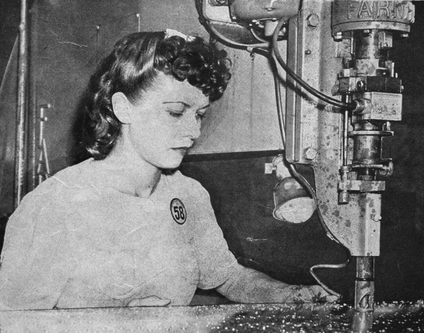 "A photo of Ruth Mullis operating a countersink machine at an aircraft plant in Florida in World War II. Mullis, 96, is one of Colorado's few remaining ""Rosies"" -- women who took on men's roles in labor and business during World War II. Unable to attend a national reunion this year, Mullis is hoping to meet other Rosies in the area."