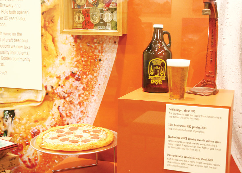 A new exhibit on food history at the Golden History Museum celebrates the 25th anniversary of Golden City Brewery and Woody's Wood Fired Pizza.