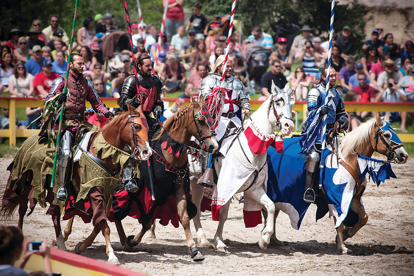 The knight-jousting tournament is one of the Colorado Renaissance Festival's most popular entertainment events. But jugglers, magicians and acrobats also offer fun spectacles at the 30-acre village in Larkspur, home of the festival's 43rd season, about 30 minutes south of Denver.