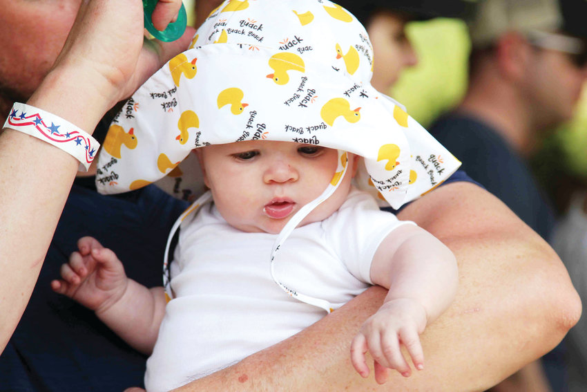 Cooper Bachman, 4 months old, sports a rubber-duck hat during the 2019 Ducky Derby.