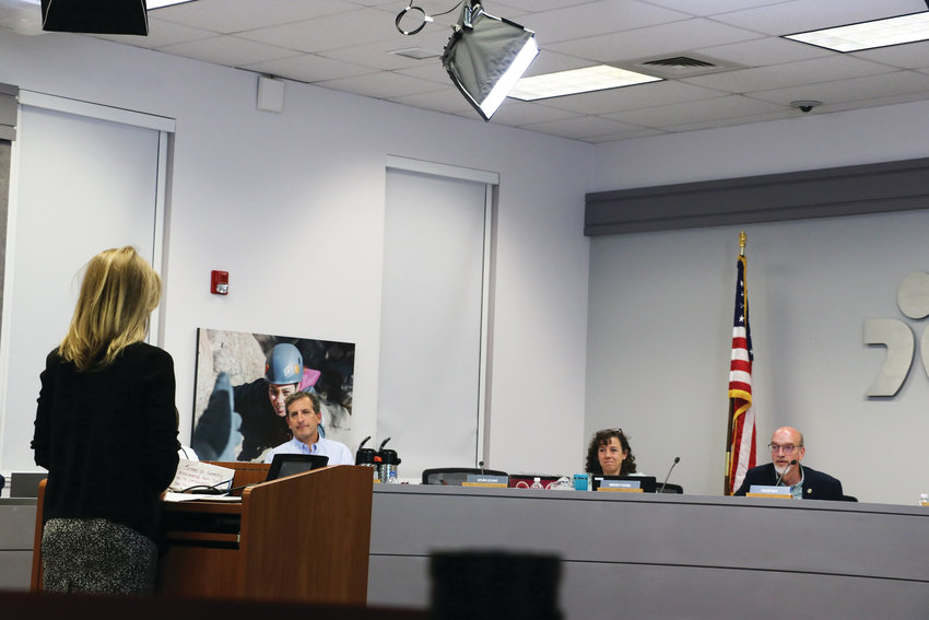 Palmer Hoegh, a teacher at Highlands Ranch High School, asks the Douglas County Board of Education to reinstate a collective bargaining agreement with the local teachers' union at a June 4 board meeting. The board ultimately denied the request, citing other goals as priorities.