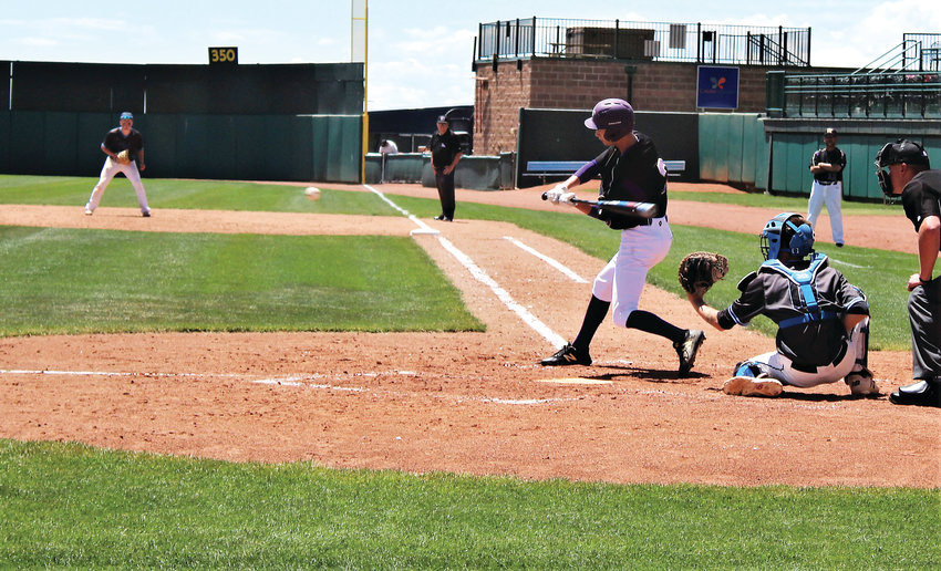 Holy Family sophomore Connor Cooney takes a swing in the 4A Final Four at UCHealth Stadium against Pueblo West May 31.