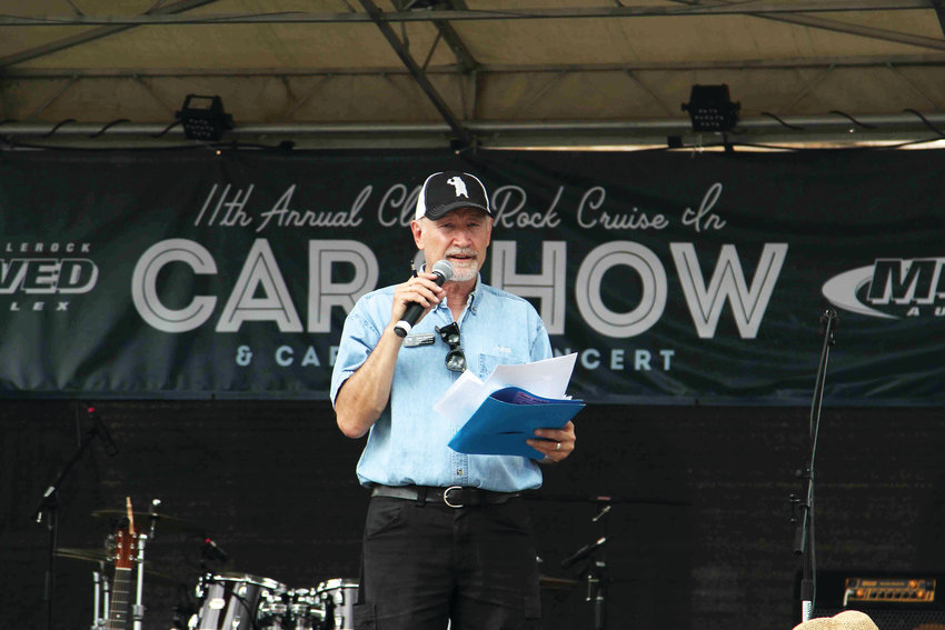 John Manka announces winners during the Castle Rock car show on June 15.