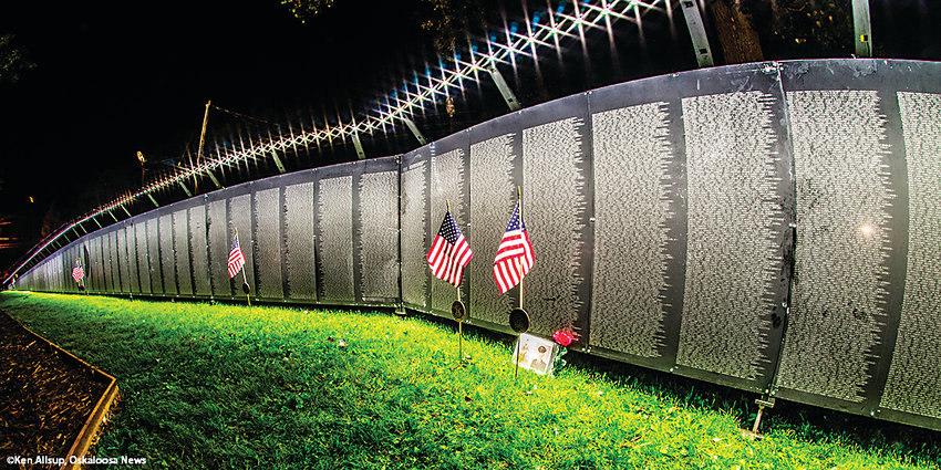 The Wall that Heals, a three-quarter scale replica of the Vietnam Veterans Memorial, while on display in Oskaloosa, Iowa.