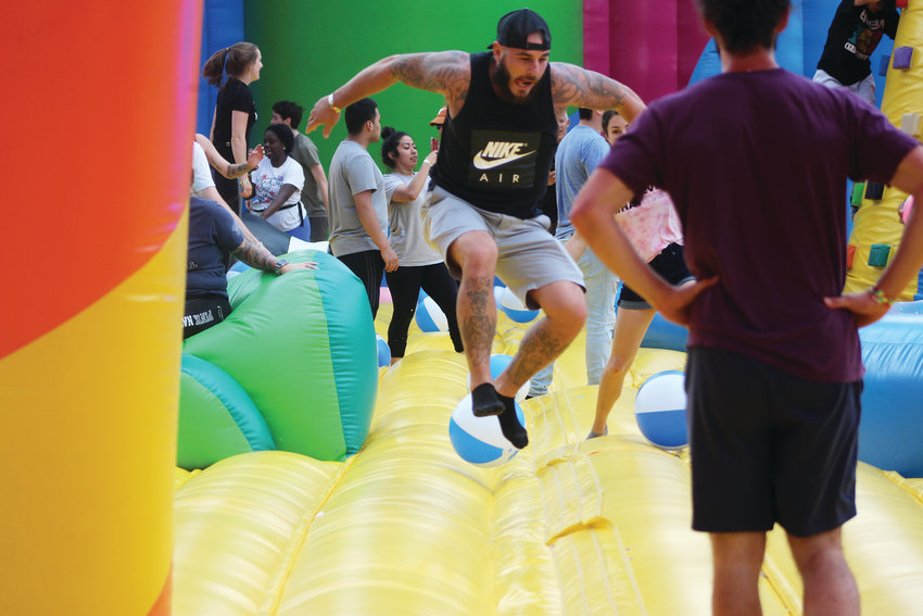 In addition to the record-setting bounce house, Big Bounce America brought a small festival of inflatables to the park, including a 900-foot obstacle course and an arena for Nerf pelting.