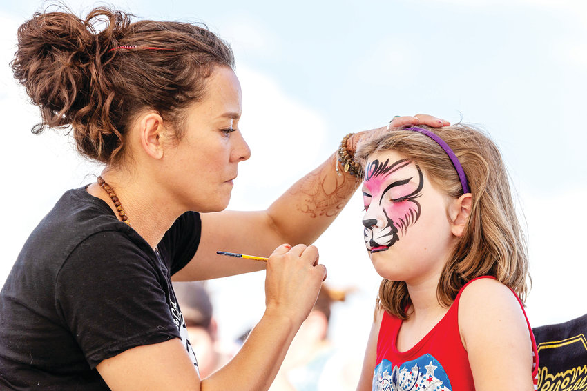 Face painting at the Parker Stars and Stripes Celebration.