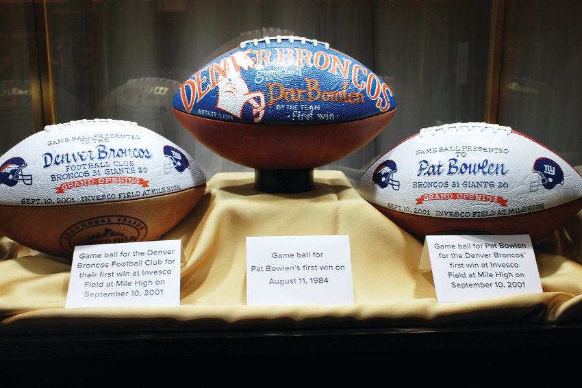 Game balls from past years that were presented to Pat Bowlen.