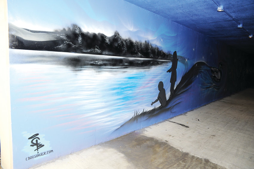 Finished art can now be seen in Northglenn's pedestrian/bicycle tunnel between the Community Center and RTD's Wagon Road Park and Ride. The work, completed by Denver mural artist Chad Bolsinger, was commisioned as part of the city's 50th anniversary celebration.
