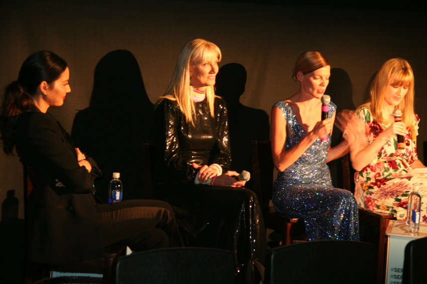 "From left, ""The Rook"" leads Olivia Munn, Emma Greenwell and Joely Richardson answer questions from Laura Prudom (IGN's deputy entertainment manager) during a SeriesFest panel on June 21."