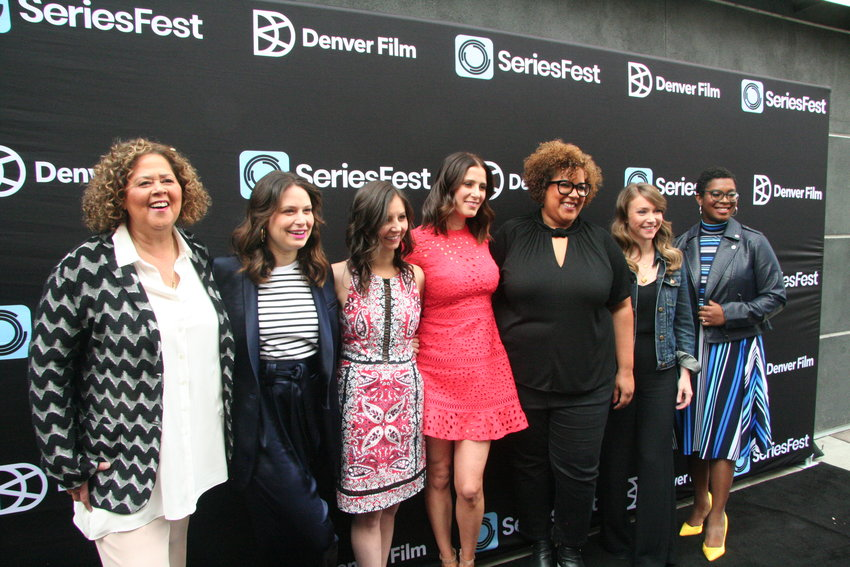 From left, actress Anna Deavere Smith, actress Katie Lowes, SeriesFest co-founder Randi Kleiner, SeriesFest co-founder Kaily Smith Westbrook, Shondaland Director of short form content Akua Murphy, Shondaland Head of fiction and non-fiction Alison Eakle and Buzzfeed's Ashley Ford gathered for the Shondaland 2.0 Panel on June 23.