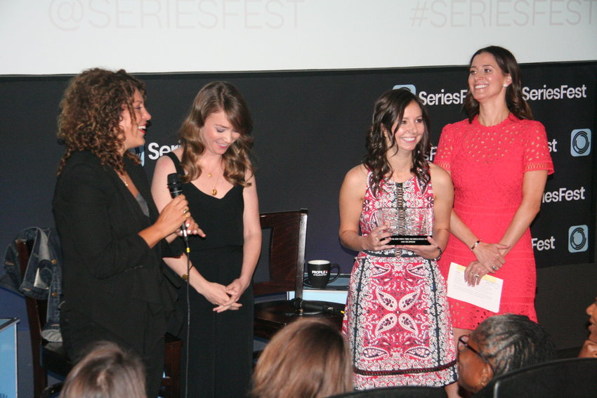 Before the Shondaland 2.0 panel got underway on June 23, Rachel Myers (left) received the first ever Women Directing Mentorship award from SeriesFest and Shondland. Myers received the award from Shondaland Head of fiction and non-fiction Alison Eakle and SeriesFest co-founders Randi Kleiner and Kaily Smith Westbrook. As part of the award, Myers will get to shadow a Shondaland director as they work on an episode of one of the company's shows.