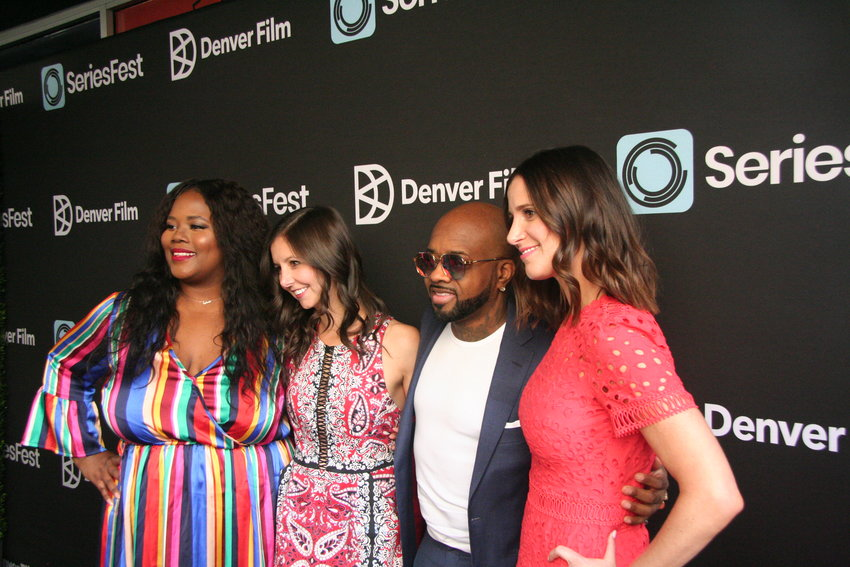 "From left, Buzzfeed's Sylvia Obell, SeriesFest co-founder Randi Kleiner, So So Def founder Jermaine Dupri and SeriesFest co-founder Kaily Smith Westbrook at the premiere of ""Power, Influence, and Hip-Hop: The Remarkable Rise of So So Def."""