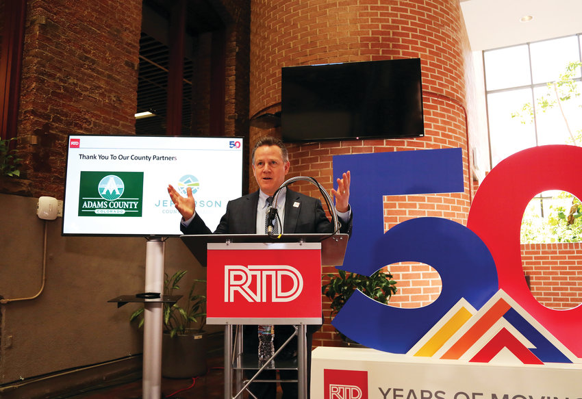 RTD General Manager and CEO Dave Genova announces the opening day for the G Line April 1 at RTD headquarters in Denver.