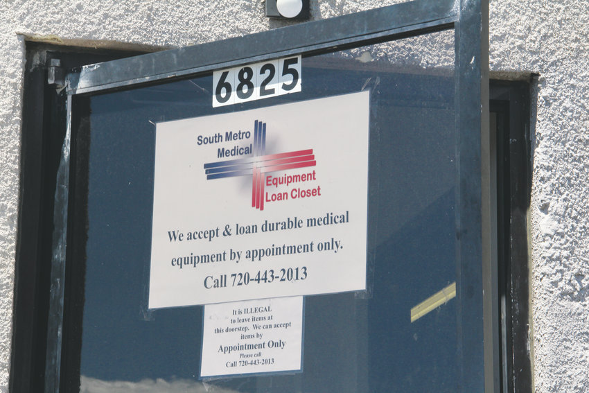 The front door of South Metro Medical Equipment Loan Closet, located just west of the Post Office at South Dayton Street in Greenwood Village. It's accessed on South Dallas Court off East Costilla Avenue in a loading area.
