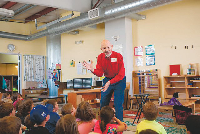 Lev Ropes, more commonly known as Grandbear the Storyteller, tells a story to children in earlier years. Ropes spent about 16 years telling stories to children in local schools with Jeffco Spellbinders, but recently retired for health reasons. He will be honored at an event co-sponsored by Rocky Mountain Storytelling and Miner's Alley Playhouse on July 13.