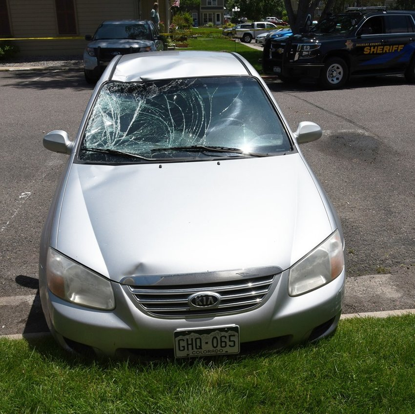 This vehicle was recovered at the Victorian Village Townhomes and is believed to have been involved in the hit-and-run that killed a cyclist July 4. Douglas County Sheriff's Office investigators are searching for the driver.