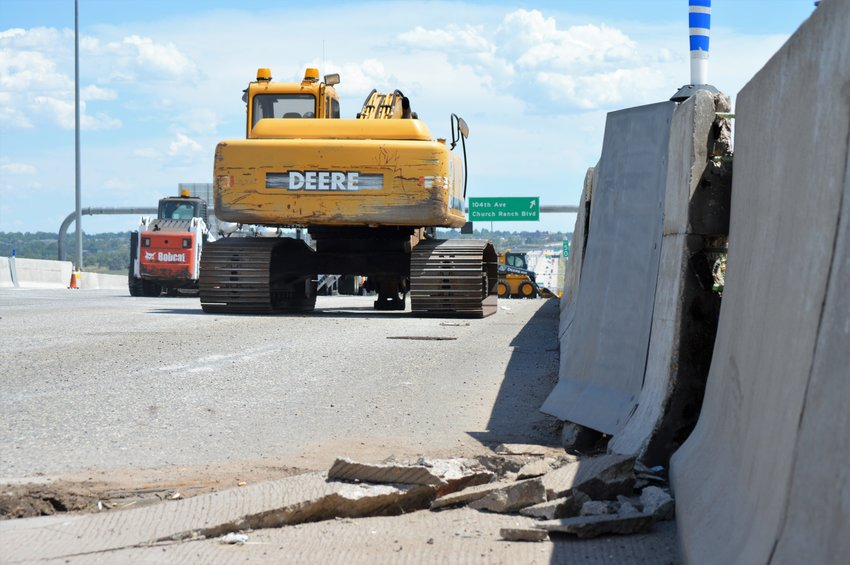 A crack in the U.S. 36 roadway about a quarter-mile south of Church Ranch Boulevard closed the southeastern bound roadway beginning July 12. Highway department officials said the road will remain closed through July 16 at least as the work to shore up the road continued