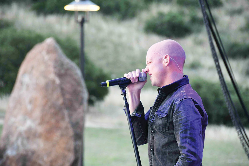 Isaac Slade sings during The Fray's concert in Castle Rock on July 13.
