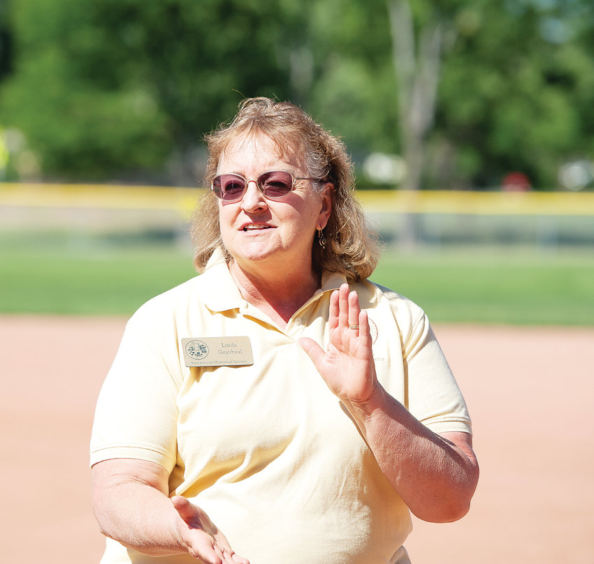 Linda Graybeal, President of the Westminster Historical Society, welcomes cranks (fans) and ballists (players) to a vintage baseball game between Star Base Ball Club of Colorado Territory and the Lightning Bolts of Westminster, on Saturday, July 13, at Wolff Run Baseball Park.