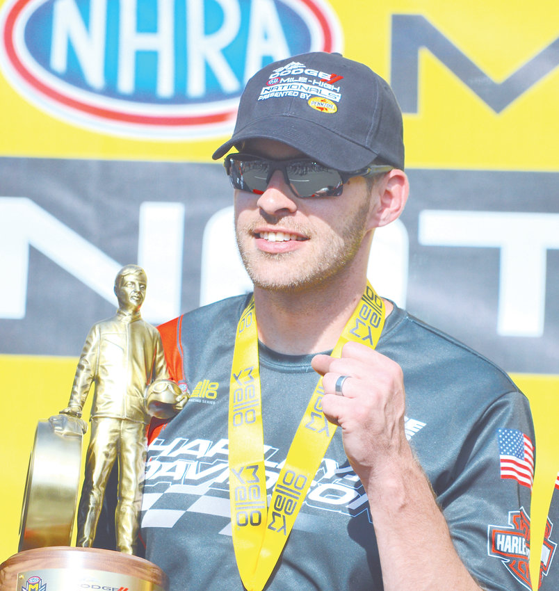 Andrew Hines defeated teammate Eddie Krawlec to capture the Pro Stock Motorcycle title July 21 at the Dodge Mile High Nationals held at Bandimere Speedway. It was his 54th career win, sixth of the season and fifth at the Mile High Nationals.