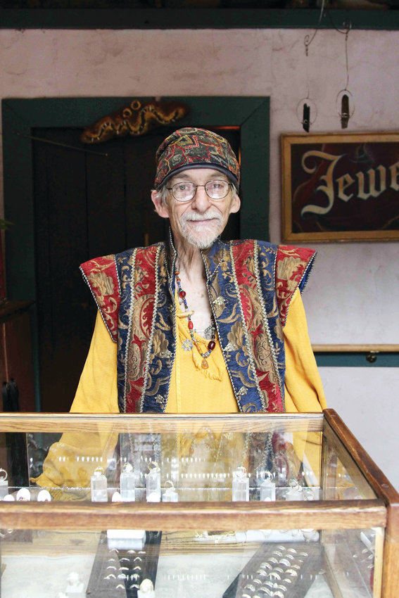 Da'oud Thompson sells jewelry and wedding bands at the Colorado Renaissance Festival in Larkspur. He sells at festivals across the country and has worked at the Larkspur festival for decades.