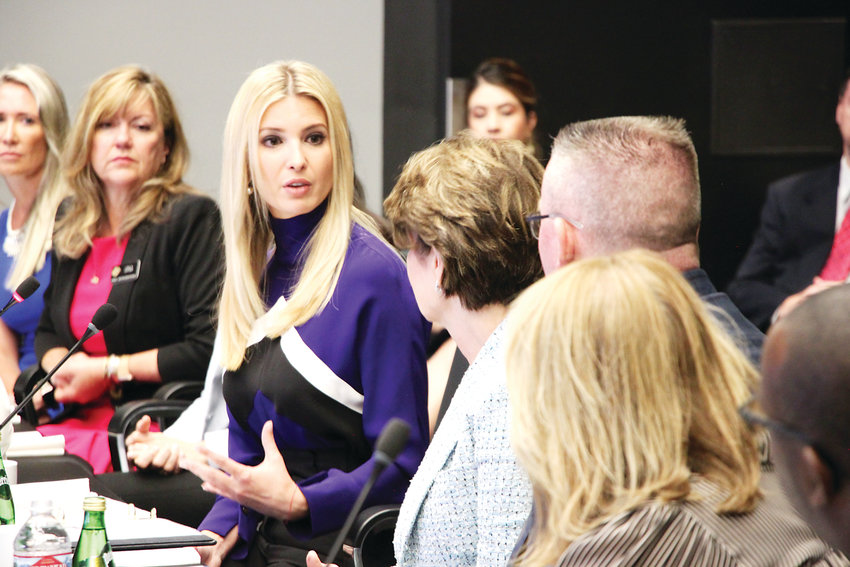 White House adviser and President Trump's daughter Ivanka Trump, left, meets with Lockheed Martin officials for a workforce development discussion on July 22.