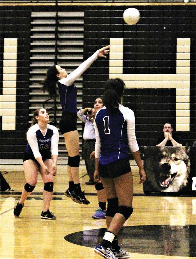 Oct. 25 against Westminster, Thornton soon-to-be senior Ashley Simpson hits the ball over the net.