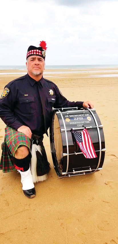 Tommy Barrella of the Colorado Emerald Society Pipe Band.