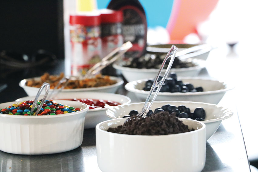 Sweet treats line a countertop at Schomp MINI for the ice cream social on July 25. The event is usually held at Children's Hospital Colorado to connect families of pediatric burn patients.