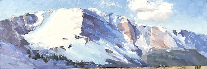 """Morning Sun on Pikes Peak"" by Joann Lavender won First Place in the Depot Gallery ""All Colorado"" exhibit."