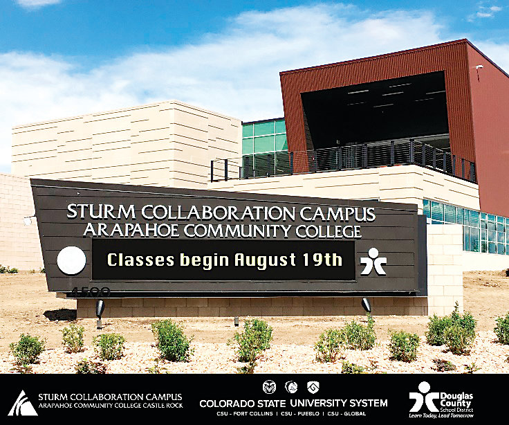 The Arapahoe Community College Sturm Collaboration Campus at Castle Rock will begin offering classes Aug. 19. The campus is at 4500 Limelight Ave. in Castle Rock. A grand opening event Aug. 16 runs from 2-6 p.m.