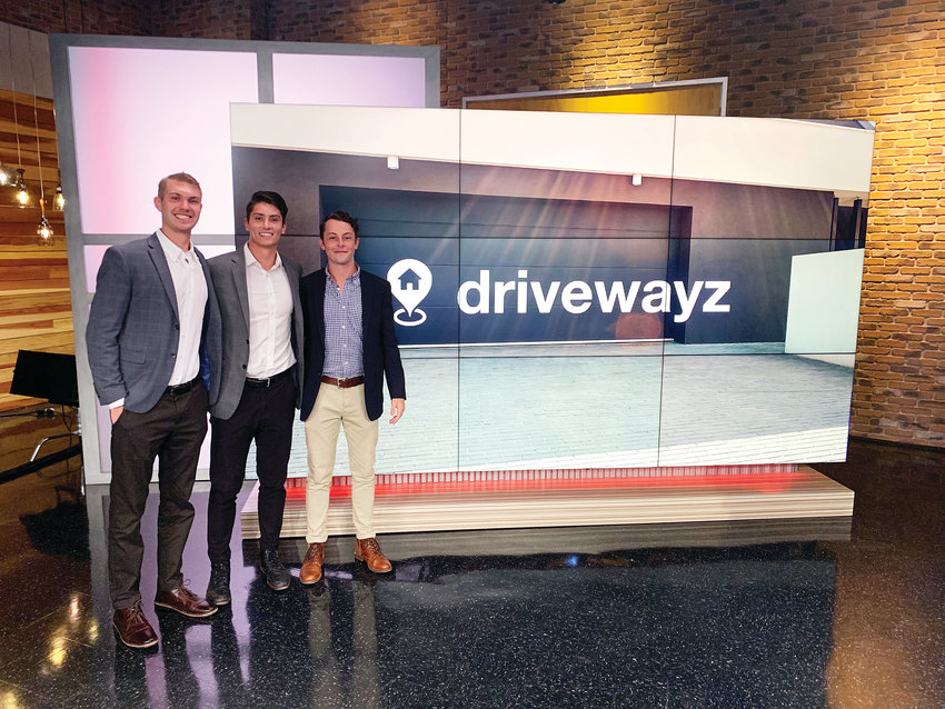 Reese Barracks, left, CEO and cofounder of driveway sharing app Drivewayz; Tyler Cagle, president, chief technology officer and cofounder; and Carter Strickling, director of operations. The team of three wants to ease the burden of street parking in cities.