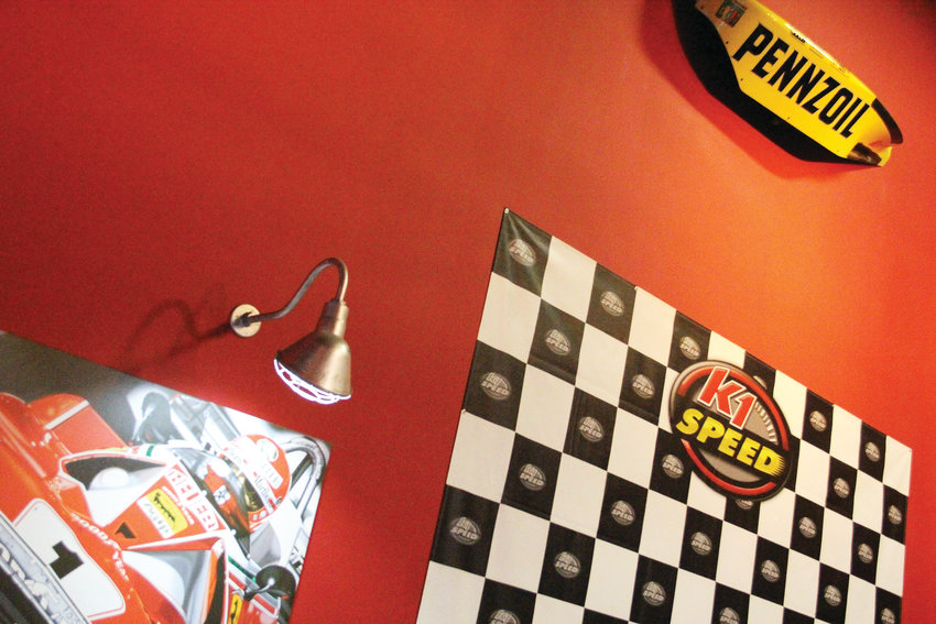The décor at K1 Speed in Highlands Ranch, one of the handful of locations that rents karts for racing on a track in the Denver metro area. It sits at 8034 Midway Drive, just off South Santa Fe Drive.