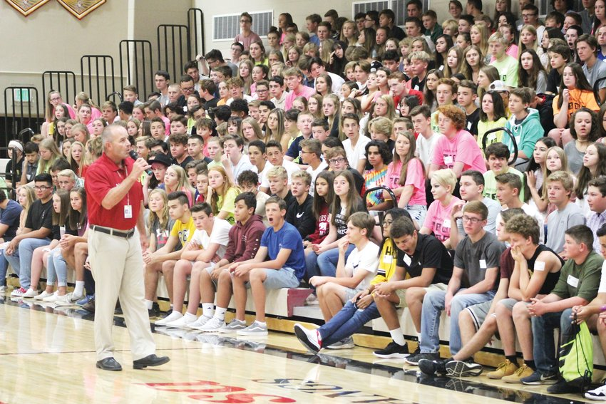 Principal Tim Ottmann speaks to the group of incoming freshmen at Ponderosa High School Aug. 7 on the first day of school.