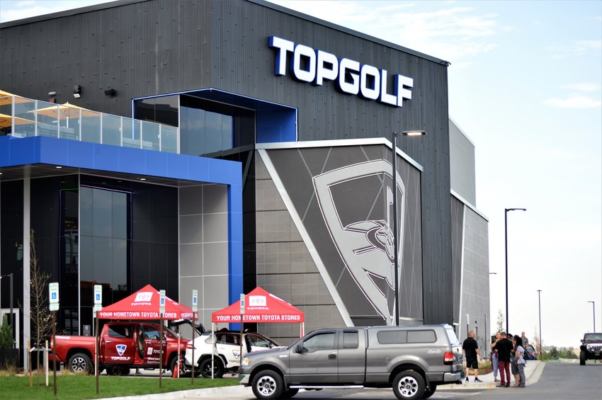 The entrance to Thornton's Top Golf at 160th and Grant, just north of the Northwest Parkway. The combination night club and driving range is set to open Aug. 9.