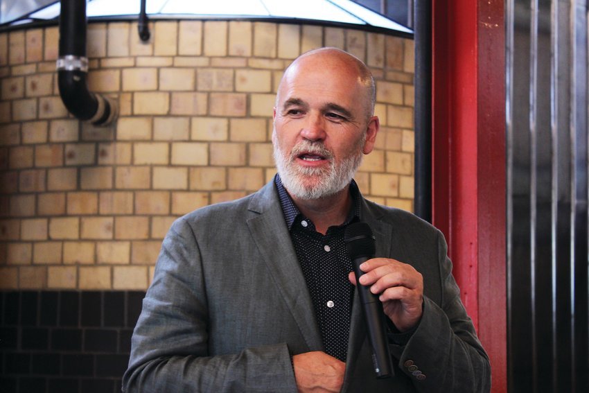Paul Tamburello, owner and founder of Little Man Ice Cream, speaks at an event for the opening of the company's new factory space. The factory opened on July 6 on West Colfax Avenue.