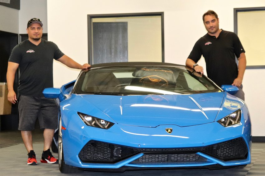 "Roman, left, and Ryan Romero are co-owners of Drives at Mile High, a luxury car rental business that has recently moved into Arvada. ""We're providing excitement. You get to enjoy a car you never thought you'd enjoy,"" Roman said."