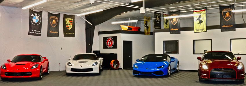 Some of the rentable luxury cars kept at Drives at Mile High, 6395 W. 56th Ave. The exotic luxury rental service boasts a number of rental options, including Lamborghinis, Porsches and Corvettes.