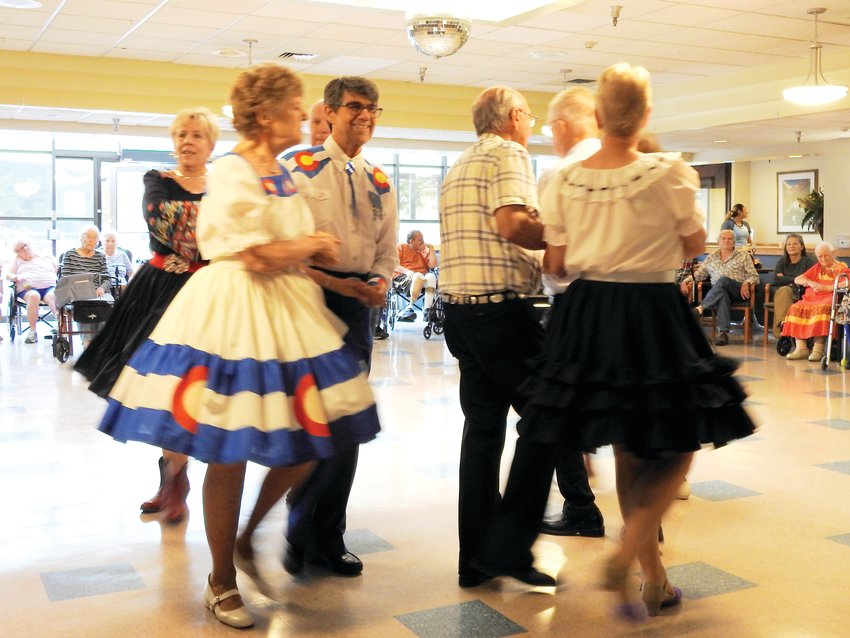 Littleton and Centennial square dancers performed an exhibition dance Aug. 1 for residents and staff at Cherrelyn HealthCare Center.