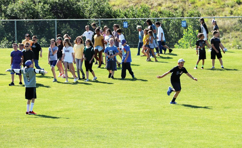 Young students took over the field at Sage Canyon Elementary School the morning of Aug. 7, their first day back from summer break.