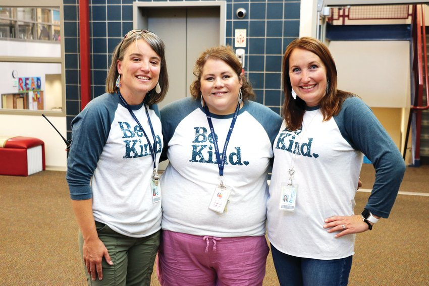 "Heather Pepper, wellness coach, Kris Diamond, music teacher, and Mandy Hill, school principal, sport shirts with the words ""Be Kind"" at Sage Canyon Elementary School's first day back on Aug. 7. ""We can be the change and the good that needs to be in everyone's life,"" Hill said."