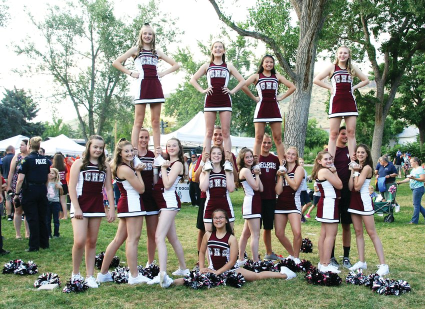 Golden High School cheerleaders make a special appearance on Aug. 6 at the Golden Police Department's National Night Out event, which takes place annually in Parfet Park.