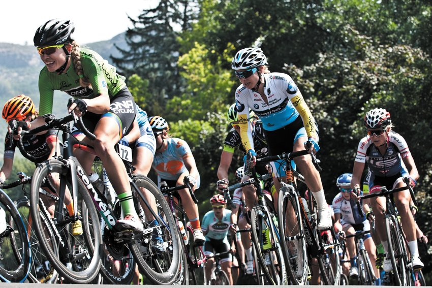 Womens' pro cycling returns in a big way to Golden this year with the Colorado Classic. Pictured, the women's peloton rounds a corner on the School of Mines campus during the 2015 USA Pro cycling Challenge.