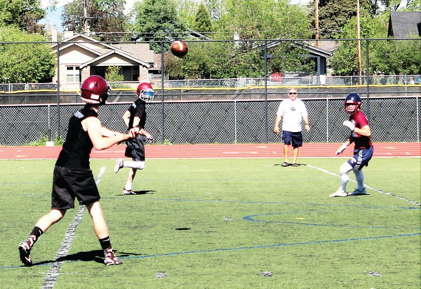 Horizon junior quarterback Blake Rosenback fires the ball July 13 at All City Stadium in 7-on-7 summer work.